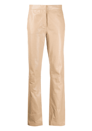 Federica Tosi high-waisted leather trousers - Neutrals