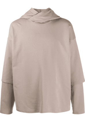 Alchemy layered sleeve hoodie - Brown