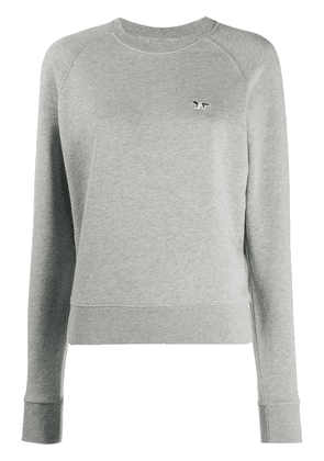 Maison Kitsuné embroidered logo crew neck sweatshirt - Grey