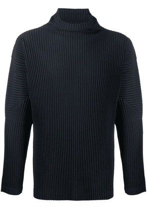 Homme Plissé Issey Miyake pleated roll neck shirt - Blue