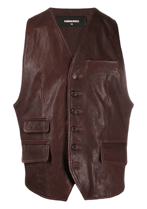 Dsquared2 leather button-front waistcoat - Brown