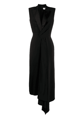 Alexander McQueen asymmetric draped midi dress - Black
