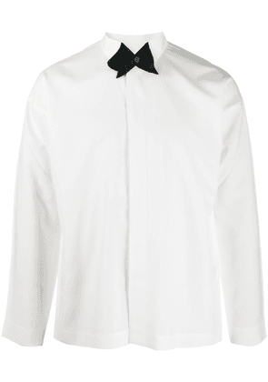 Homme Plissé Issey Miyake contrast collar button shirts - White
