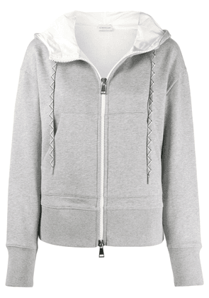 Moncler logo patch zip-up hoodie - Grey
