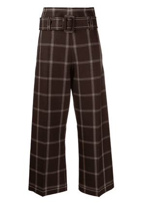 Marni check-pattern paperbag trousers - Red