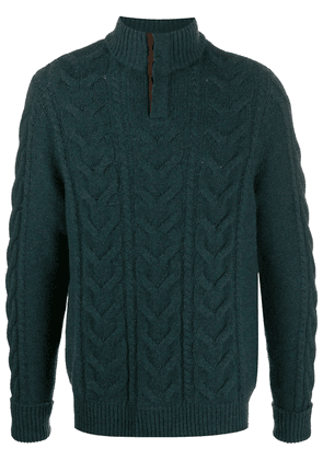 N.Peal buttoned chunky knit jumper - Grey