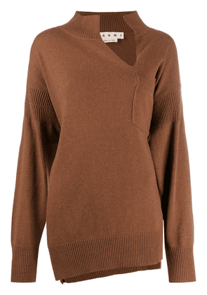 Marni asymmetric slit neck jumper - Brown