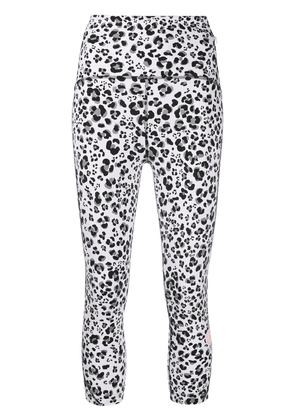 adidas by Stella McCartney cropped leopard-print leggings - White