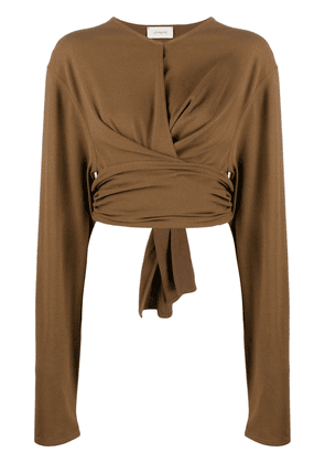 Lemaire long-sleeved wrap-around top - Brown