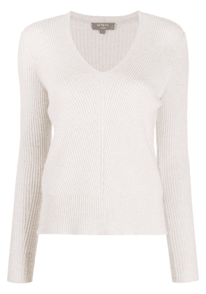 N.Peal rib knit V-neck jumper - Neutrals