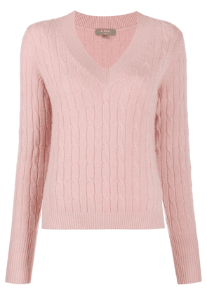 N.Peal side slit cashmere sweater - PINK