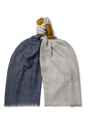 Loro Piana - Fringed Colour-Block Cashmere and Silk-Blend Scarf - Men - Gray