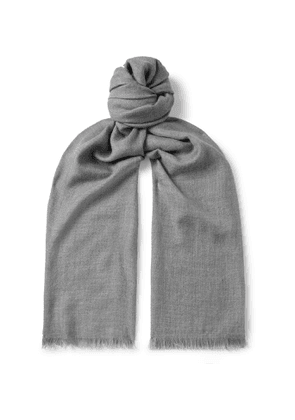 Loro Piana - Fringed Cashmere and Silk-Blend Scarf - Men - Gray
