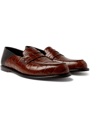 Loewe - Collapsible-Heel Croc-Effect and Full-Grain Leather Penny Loafers - Men - Brown