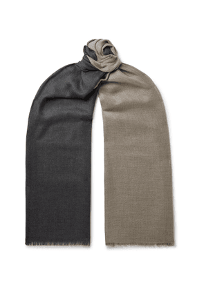 Loro Piana - Fringed Two-Tone Cashmere and Silk-Blend Scarf - Men - Gray