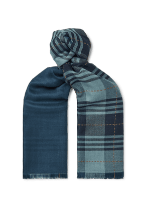 Loro Piana - Fringed Checked Cashmere and Silk-Blend Scarf - Men - Blue