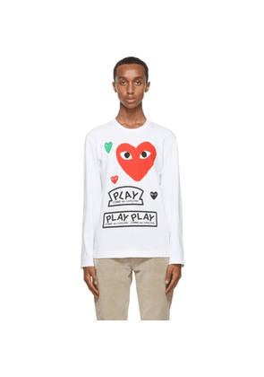 Comme des Garcons Play White and Red Multi Logo Long Sleeve T-Shirt