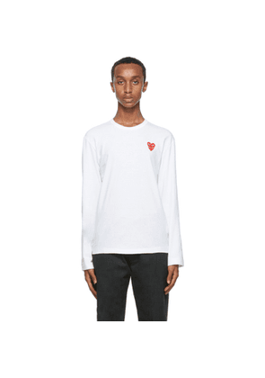 Comme des Garcons Play White Double Heart Long Sleeve T-Shirt