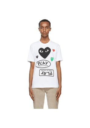 Comme des Garcons Play White and Black Multi Logo T-Shirt
