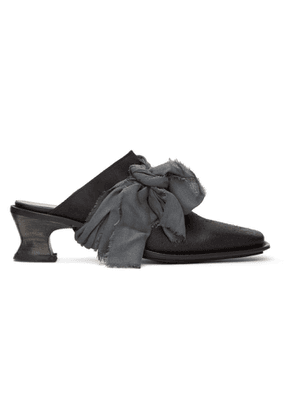 Cherevichkiotvichki Black Leather Bow Mules