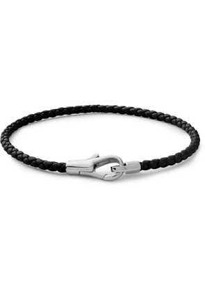 Miansai - Knox Woven Leather and Sterling Silver Bracelet - Men - Black