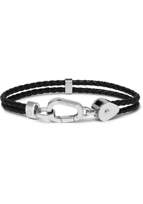Montblanc - Wrap Me Braided Leather and Stainless Steel Bracelet - Men - Black