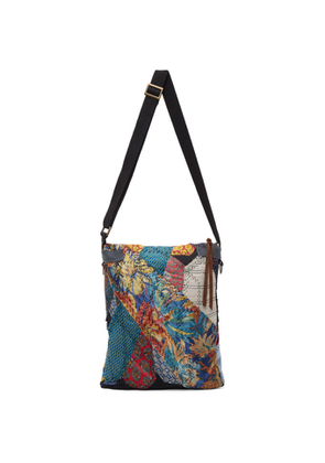 By Walid Multicolor Silk Tie Story Messenger Bag