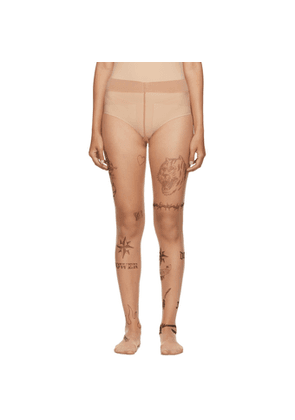 VETEMENTS Beige Wolford Edition Tattoo Tights