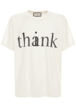 Think Thank Print Cotton T Shirt