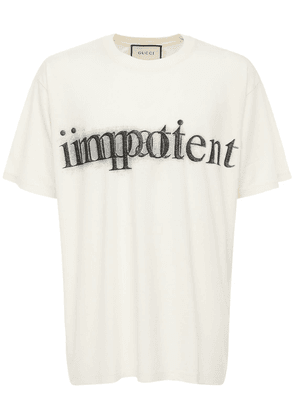 Impotent Print Cotton T-shirt