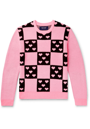 Noon Goons - Lovers Checked Jacquard Sweater - Men - Pink