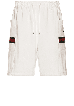 Gucci Shorts in Ivory & Green & Red - White,Stripes. Size L (also in S).