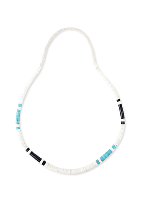 Peyote Bird - Turquoise, Jet and Shell Necklace - Men - White