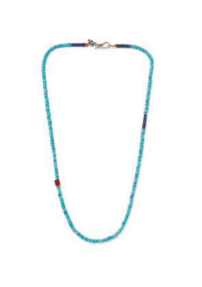 Peyote Bird - Turquoise, Coral and Sterling Silver Necklace - Men - Blue