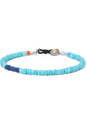 Peyote Bird - Pacifico Multi-Stone, Sterling Silver and Leather Bracelet - Men - Blue