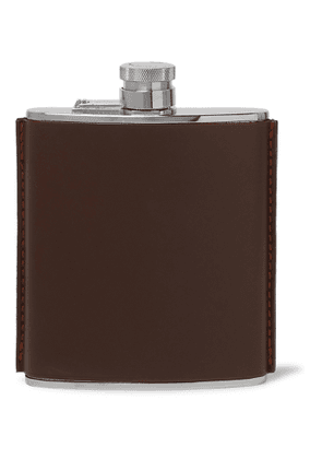 Purdey - Leather and Stainless Steel Flask - Men - Brown