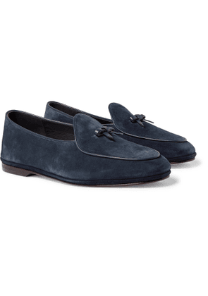 Rubinacci - Marphy Leather-Trimmed Suede Tasselled Loafers - Men - Blue