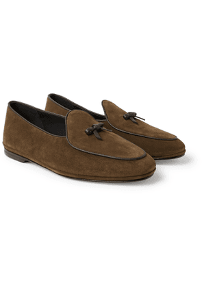 Rubinacci - Marphy Leather-Trimmed Suede Tasselled Loafers - Men - Brown