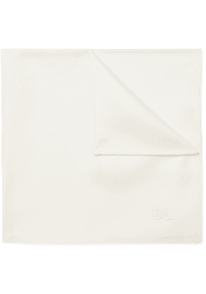 SAINT LAURENT - Logo-Embroidered Silk-Twill Pocket Square - Men - White
