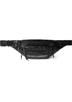 SAINT LAURENT - Logo-Print Ripstop-Shell Belt Bag - Men - Black
