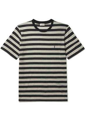 SAINT LAURENT - Logo-Embroidered Striped Wool-Jersey T-Shirt - Men - Black