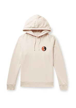Saturdays NYC - Appliquéd Loopback Cotton-Jersey Hoodie - Men - Neutrals