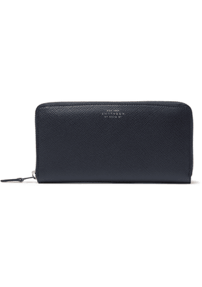 Smythson - Panama Cross-Grain Leather Zip-Around Wallet - Men - Blue