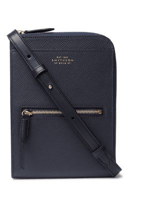 Smythson - Panama Cross-Grain Leather Currency Wallet - Men - Blue