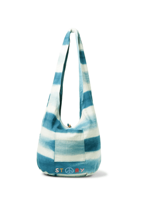 Story Mfg. - Logo-Embroidered Striped Organic Cotton-Canvas Tote - Men - Blue