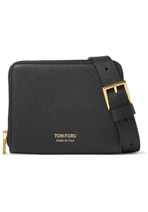 TOM FORD - Full-Grain Leather Zip-Around Wallet with Lanyard - Men - Black