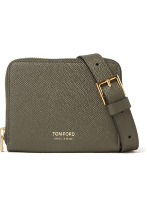 TOM FORD - Full-Grain Leather Zip-Around Wallet with Lanyard - Men - Green
