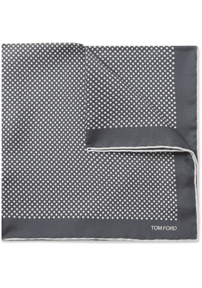 TOM FORD - Polka-Dot Silk-Twill Pocket Square - Men - Gray