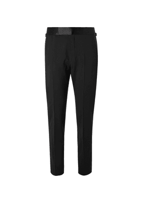 TOM FORD - Slim-Fit Satin-Trimmed Stretch-Wool Tuxedo Trousers - Men - Black