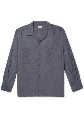 nanamica - Wind Camp-Collar Lyocell and Cotton-Blend Shirt - Men - Blue